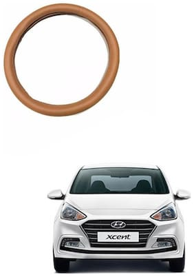 AYW Leather Steering Cover For Hyundai Xcent Tan Color