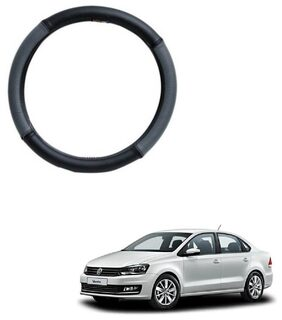 AYW Leather Steering Cover For Volkswagen Vento Grey & Black Color