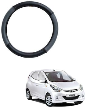 AYW Leather Steering Cover For Hyundai Eon Grey & Black Color