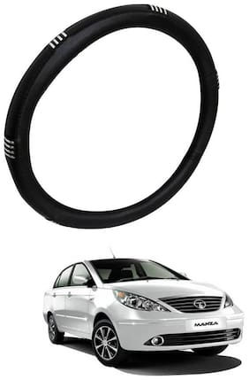 AYW Leather Steering Cover For Tata Manza Chrome & Black Color
