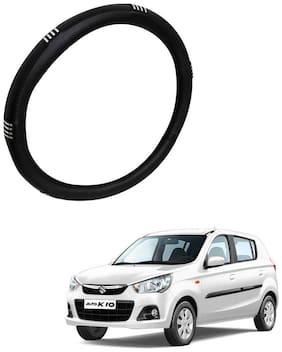 AYW Leather Steering Cover For Maruti Suzuki Alto K10 Chrome & Black Color