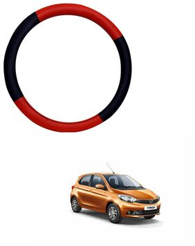 AYW Leather Steering Cover For Tata Tiago Red & Black Color