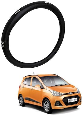 AYW Leather Steering Cover For Hyundai Grand i10 Chrome & Black Color