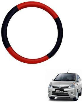 AYW Leather Steering Cover For Maruti Suzuki Zen Estilo Red & Black Color