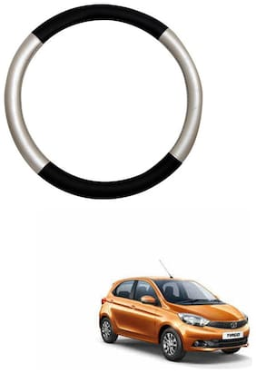 AYW Leather Steering Cover For Tata Tiago Silver & Black Color