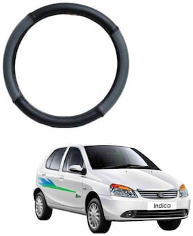 AYW Leather Steering Cover For Tata Indica Grey & Black Color