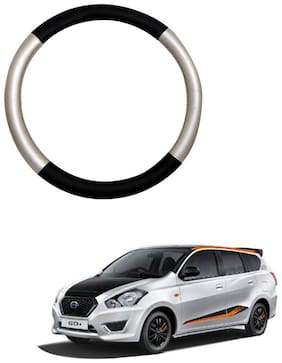 AYW Leather Steering Cover For Datsun Go Silver & Black Color