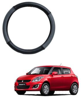 AYW Leather Steering Cover For Maruti Suzuki Swift Grey & Black Color
