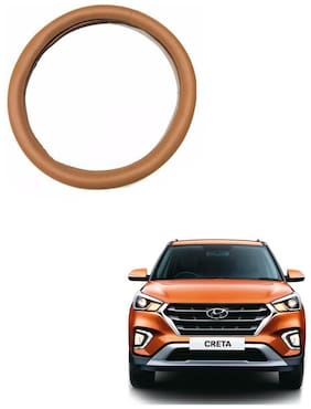 AYW Leather Steering Cover For Hyundai Creta Tan Color