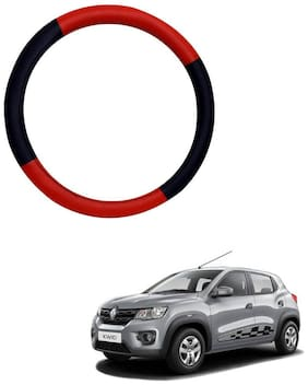 AYW Leather Steering Cover For Renault Kwid Red & Black Color