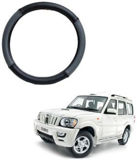 AYW Leather Steering Cover For Mahindra Scorpio Grey & Black Color