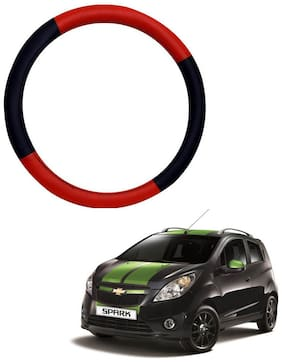 AYW Leather Steering Cover For Chevrolet Spark Red & Black Color