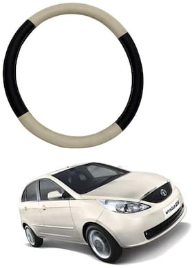 AYW Leather Steering Cover For Tata Indica Vista Beige & Brown Color