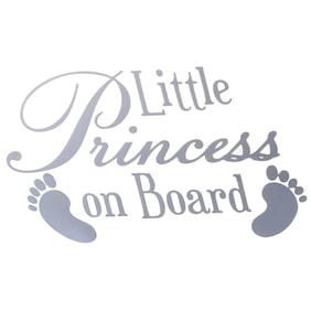 Baby Feet Little Princess On Board Car Bumper Window Vinyl Sticker(White)