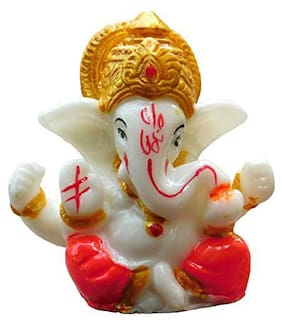 Beautiful Small Ganesha Marble Powder/Resin Statue for Home and car Decor