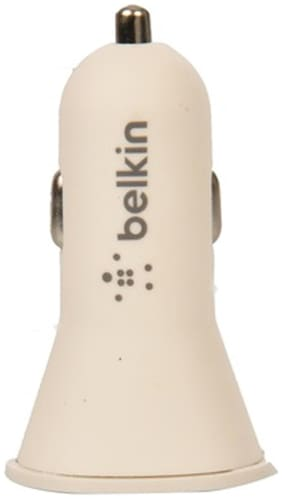 belkin 2Port Car Charger With Charger Cable-White
