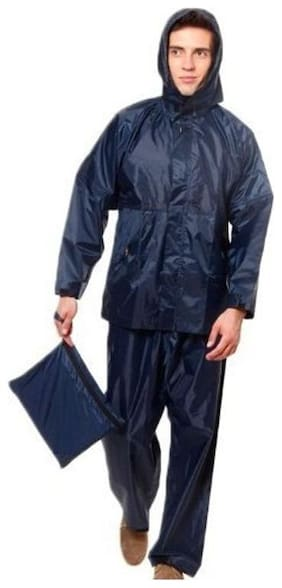 Benjoy 100% WATERPROOF (BLUE,) RAIN SUIT WITH HOOD & CARRY BAG FOR BIKERS