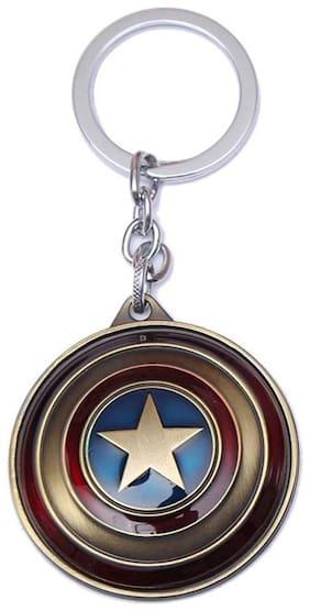 BESTM 1-GADGET Blue Captain America Rotating Shield Keyring & Keychain