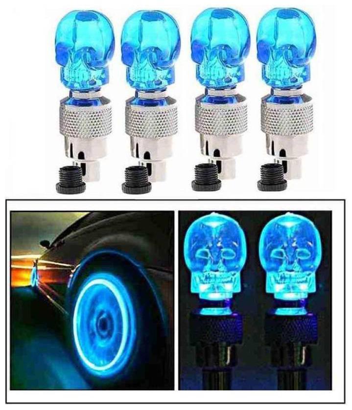 BG Bazzar Gali Skull LED Flash Light Lamp Bike Car Tyre Wheel Valve Sealing Cap  Pack of 4