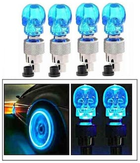 BG Bazzar Gali Stylish Car/Bike/Bicycle Tyre Valve Led Skull Wheel Light with Motion Sensor - Set of 4