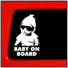 Bhagatshop Baby on board Safety Warning Car Sticker 14.5X18 cm(White)