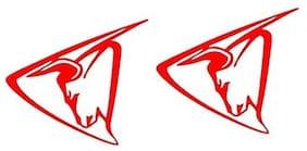 Bhagatshop Hero Hunk bull Auto Hood Bumper Front Sides Bike StickersRed (Pack 2 )
