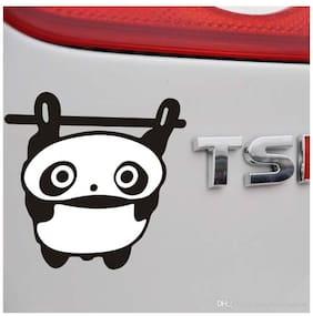 Bhagatshop Hanging panda Hood, Bumper, Sides Windows, Car Sticker,14.5X14.5 cm(black)