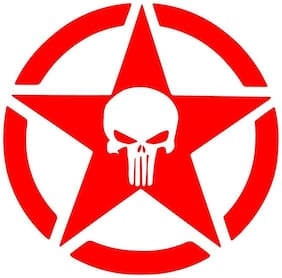Bhagatshop ( pack of 2 ) Skull punisher Red STICKER DECAL STICKER for Royal Enfield BULLET/BIKE STICKER (11.5 Cm X 11.5 Cm)