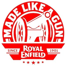 Bhagatshop ( pack of 2 ) Made like a gun Red STICKER DECAL STICKER for Royal Enfield BULLET/BIKE STICKER (11.5 Cm X 11.5 Cm)