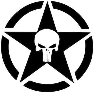 Bhagatshop Star Decal Sticker For Royal Enfield Bullet/Bike Sticker;(11.5 Cm X 11.5 Cm);( pack of 2 );Black