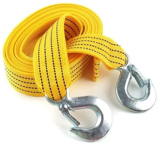Bigwheels 3 Ton Car Van Truck Nylon Long Super Strong (3 Meter) Emergency Heavy Duty (Yellow) Color Tow Cable/Tow Strap Rope With Dual Forged Hooks (3000 kg Pull Capacity)