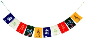 Bigwheels Cotton Hanging (Small Size 6.5x4Cm) Om Mani Padme Hum Tibetan Buddhist Ladakh Prayer Flags Set For Positive Energy & Protections For Home Doors, Car & Motorbikes (Multicolor)