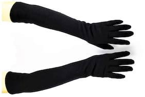 """Bigwheels High-Quality 24""""inch 1 Pair Cotton (Black) Color Anti-Sweat Cool Comfortable Full Arm Sleeves With Finger Covers For Men & Women Sun Rays UV Protection Arm Hand Riding Gloves (Free Size)"""