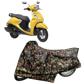 Bigwheels Premium Quality Junglee Matty Two Wheeler Scooter Scooty Body Cover For Yamaha Fascino 125 With Mirror Pockets