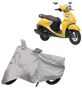 Bigwheels Premium Quality Silver Matty Two Wheeler Scooter Scooty Body Cover For Yamaha Fascino 125 With Mirror Pockets