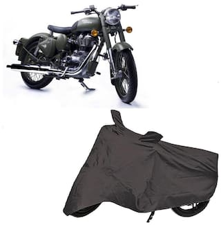 Bigwheels Premium Quality Grey Matty Two Wheeler Bike Body Cover For Royal Enfield Bullet Classic 500 With Mirror Pockets