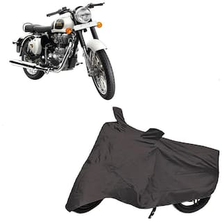 Bigwheels Premium Quality Grey Matty Two Wheeler Bike Body Cover For Royal Enfield Bullet Classic 350 With Mirror Pockets