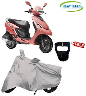 Bigwheels Premium Quality Silver Matty Scooty Body Cover For TVS Scooty Zest With Free Anti-Pollution Face Mask