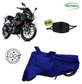 BigWheels Premium Quality Royal Blue Color Blue Matty Bike Body Cover For Bajaj pulsar RS 200 With Free Anti Dust / Pollution Protective Face Mask Mouth & Nose Respirator For Boys & Girls