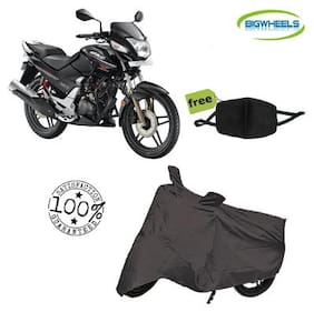 Bigwheels Premium Quality Grey Matty Bike Body Cover For Hero Honda CBZ Xtreme With Free Anti Dust / Pollution Protective Face Mask Mouth & Nose Respirator For Boys & Girls