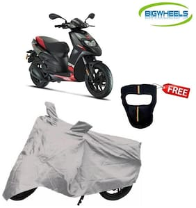 Bigwheels Premium Quality Silver Matty Scooty Body Cover For Aprilia SR 150 With Free Anti-Pollution Face Mask