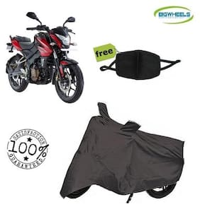 Bigwheels Premium Quality Grey Matty Bike Body Cover For Bajaj pulsar NS 200 With Free Anti Dust / Pollution Protective Face Mask Mouth & Nose Respirator For Boys & Girls