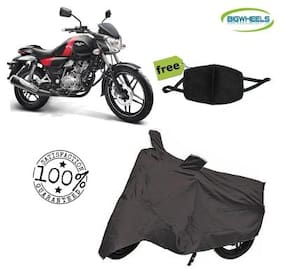 Bigwheels Premium Quality Grey Matty Bike Body Cover For Bajaj Vikrant V15 With Free Anti Dust / Pollution Protective Face Mask Mouth & Nose Respirator For Boys & Girls