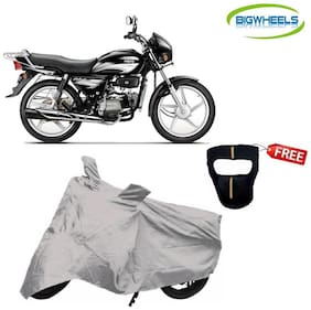 Bigwheels Premium Quality Silver Matty Bike Body Cover For Hero Splender Plus With Free Anti-Pollution Face Mask