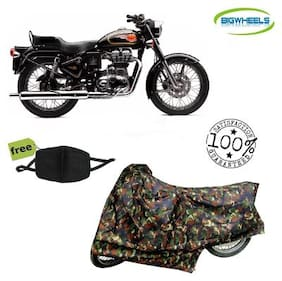 BigWheels Premium Quality Army Color Junglee Matty Bike Body Cover For Royal Enfield Bullet With Free Anti Dust / Pollution Protective Face Mask Mouth