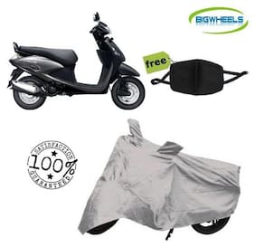 BigWheels Premium Quality Silver Matty Scooty Body Cover For Hero Pleasure With Free Anti Dust / Pollution Protective Face Mask Mouth & Nose Respirator For Boys & Girls