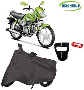 Bigwheels Premium Quality Grey Matty Bike Body Cover For Hero HF Deluxe Eco With Free Anti-Pollution Face Mask