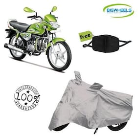 BigWheels Premium Quality Silver Matty Bike Body Cover For Hero HF Deluxe Eco With Free Anti Dust / Pollution Protective Face Mask Mouth & Nose Respirator For Boys & Girls