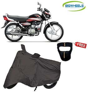 Bigwheels Premium Quality Grey Matty Bike Body Cover For Hero HF Deluxe With Free Anti-Pollution Face Mask