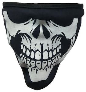 Bigwheels (Set Of 1) Anti Dust Pollution Stretchable Fabric Skull Style Uv Sun Rays Protection Face Mask Covers Mouth and Nose for Boys and Girls (Free Size; Black)